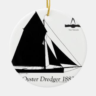 1882 Oyster Dredger - tony fernandes Ceramic Ornament