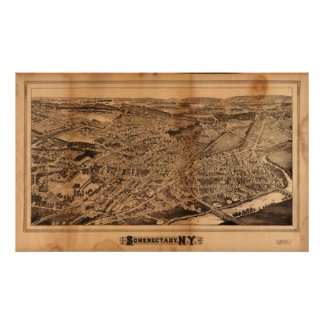 1882 Schenectady, NY Birds Eye View Panoramic Map Poster