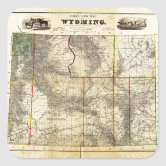 1883 Holt's New Map of Wyoming by Frank Bond Square Sticker