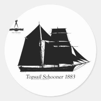 1883 topsail schooner - tony fernandes classic round sticker
