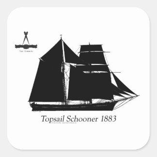 1883 topsail schooner - tony fernandes square sticker