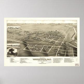 1883 Watertown, SD Birds Eye View Panoramic Map Poster