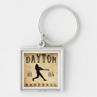 1884 Dayton Ohio Baseball Silver-Colored Square Key Ring