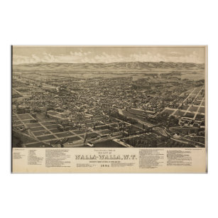1884 Walla Walla, WA Birds Eye View Panoramic Map Poster