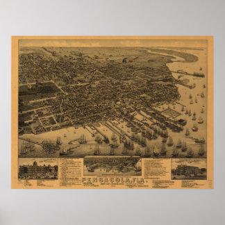 1885 Pensacola, FL Birds Eye View Panoramic Map Poster