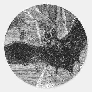 1885 Vampire Bat Illustration Classic Round Sticker