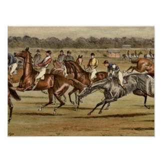 1886 Steeplechase Horse Racing Print