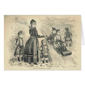1886 Tobogganing costumes Greeting Card