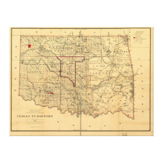1887 Indian Territory Map by Geo U Mayo Stretched Canvas Prints