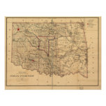 1887 Indian Territory Map Oklahoma Territory Posters