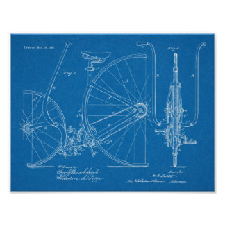 1887 Vintage Bicycle Design Patent Art Print