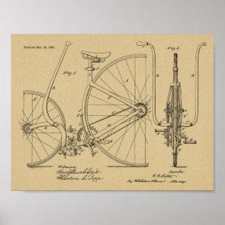1887 Vintage Bicycle Design Patent Art Print