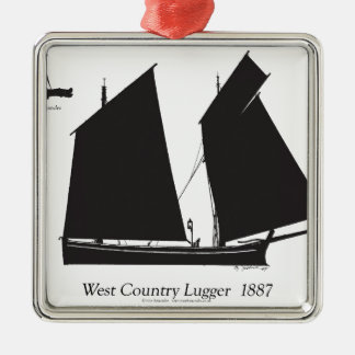 1887 west country lugger - tony fernandes metal ornament