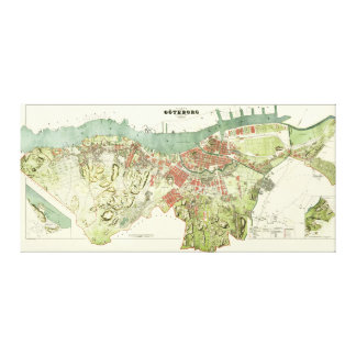 1888 Map of Gothenburg Sweden by Ludvig Simon Gallery Wrapped Canvas