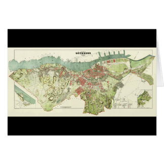 1888 Map of Gothenburg Sweden by Ludvig Simon Card
