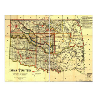 1889 Indian Territory Map Postcard