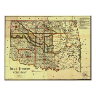 1889 Indian Territory Map Poster