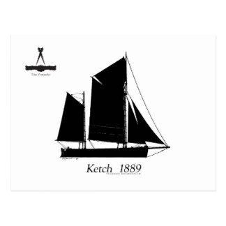 1889 solent ketch - tony fernandes postcard