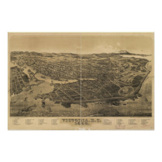 1889 Victoria Vancouver Island Panoramic Map Poster