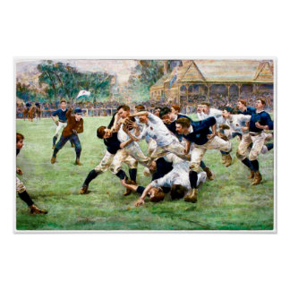 1889 Vintage Rugby Watercolour Print