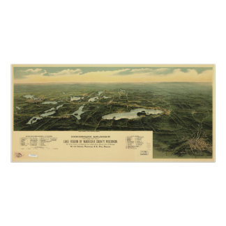 1890 Oconomowoc, WI Birds Eye View Panoramic Map Poster