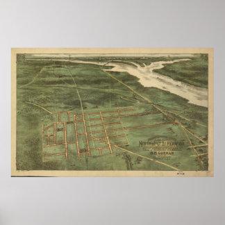 1890's Alexandria VA Bird's Eye View Panoramic Map Poster