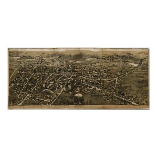 1890's Barre, MA Birds Eye View Panoramic Map Posters