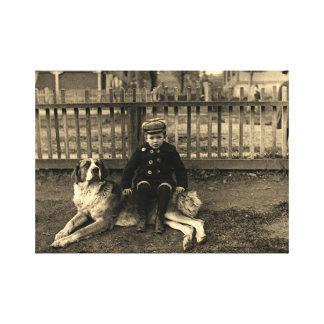 1890's Boy Sitting on St Bernard Dog Photograph Canvas Print