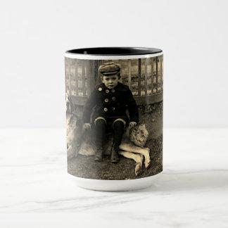 1890's Boy Sitting on St Bernard Dog Photograph Mug