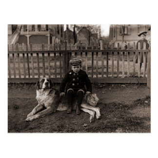 1890's Boy Sitting on St Bernard Dog Photograph Postcard