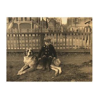 1890's Boy Sitting on St Bernard Dog Photograph Wood Wall Art