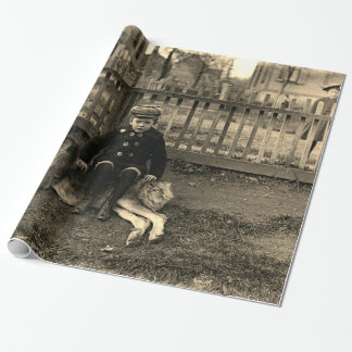 1890's Boy Sitting on St Bernard Dog Photograph Wrapping Paper
