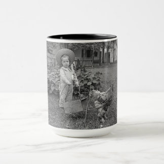 1890's Garden LIttle Girl With Rooster Cart Photo Mug