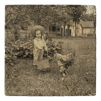 1890's Garden LIttle Girl With Rooster Cart Photo Trivets