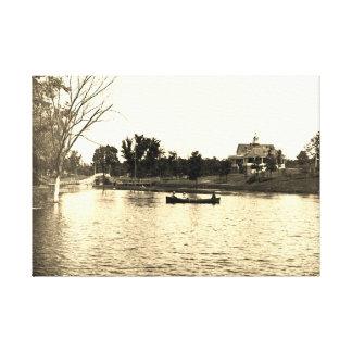 1890's Lords Park Elgin Illinois Lagoon Pavillion Canvas Print