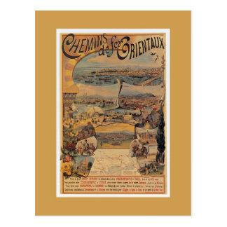 1890s Oriental railways to Constantinople travel Postcard