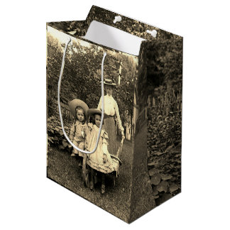 1890's Photo Heirloom Garden Mother Daughters girl Medium Gift Bag