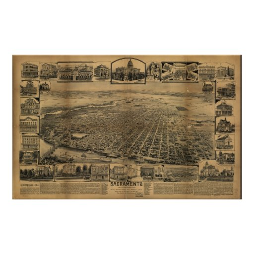 1890's Sacramento CA Birds Eye View Panoramic Map Posters