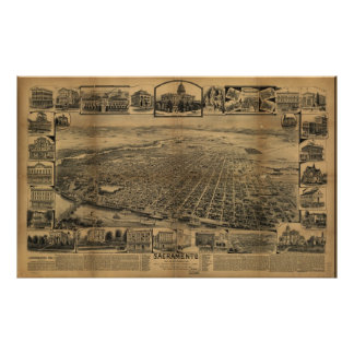 1890's Sacramento CA Birds Eye View Panoramic Map Poster