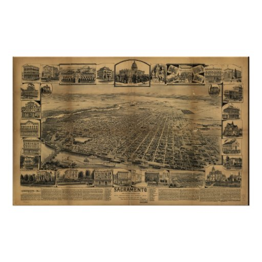 1890's Sacramento CA Birds Eye View Panoramic Map Print