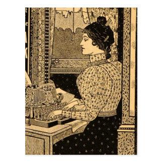 1890's Secretary at Typewriter Postcard