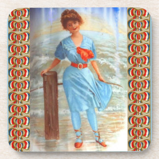 1890s Victorian lady on the beach Coaster