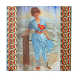 1890s Victorian lady on the beach Tile