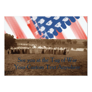 1890's  Women Tug of War Tug-O-War American Flag Card