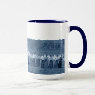 1890's  Women Tug of War Tug-O-War Blue Elgin IL Mug