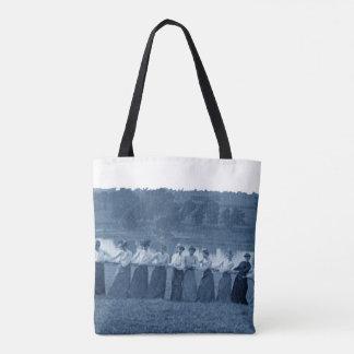 1890's Women Woman Tug-O-War Fox River blue Tote Bag