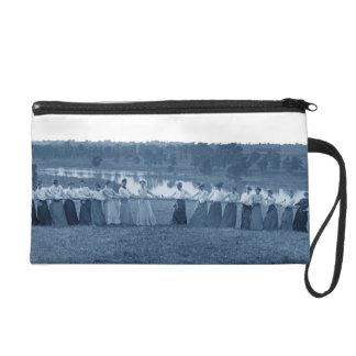 1890's Women Woman Tug-O-War Photo Tug of War blue Wristlet Purse