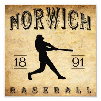 1891 Norwich Connecticut Baseball Art Photo