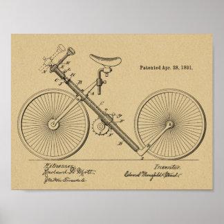 1891 Vintage Bicycle Pipe Design Patent Art Print