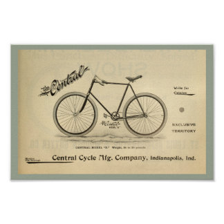 1894 The Central Cycle Bicycle Ad Art Poster